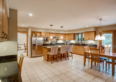 open floor plan kitchen and dining room